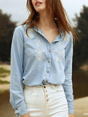 Embroidery Shirt Collar Long Sleeve Denim Shirt - Light Blue