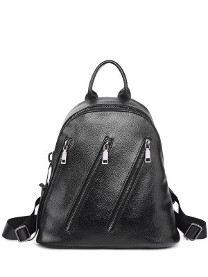 Metal Zippers Textured Leather Backpack - Black