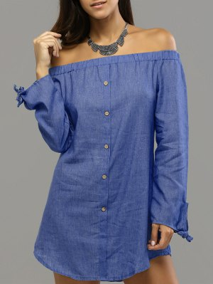 Off Shoulder Bowknot Denim Shift Dress - Deep Blue