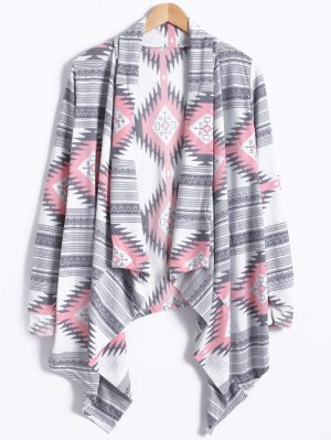 Geometric Pattern Long Sleeve Cashmere Cardigan - Light Gray
