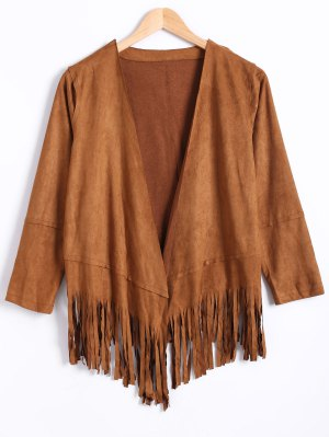 Tassels Long Sleeve Suede Coat - Dark Khaki