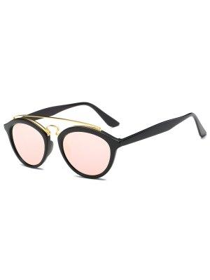 Metallic Crossbar Mirrored Trendsetter Sunglasses - Pink