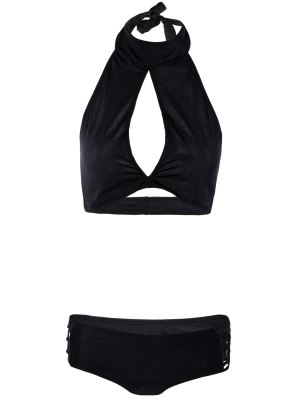 Hollow Out High Neck Black Bikini Set - Black