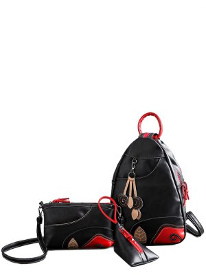 Knots Leaf Pattern PU Leather Backpack - Black