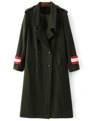 Military Style Wool Blend Coat - Army Green