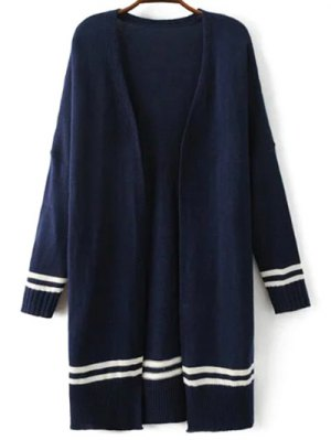 Drop Shoulder Sleeve Open Cardigan - Purplish Blue