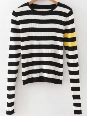 Stripe Pullover Sweater - White And Black