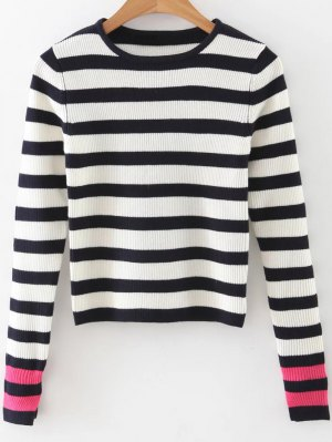 Long Sleeves Striped Sweater - Black And White And Red