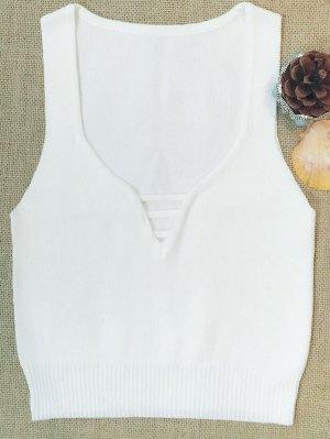 Sleeveless V Neck Sweater - White