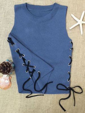 Side Lace-Up Knit Tank Top - Blue