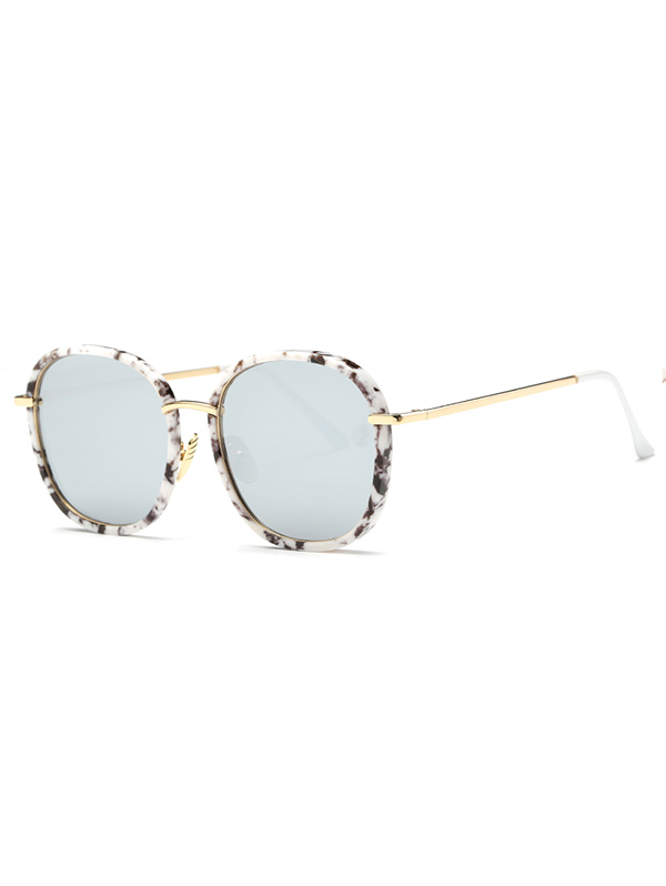 Marble Oversized Square Mirrored Sunglasses