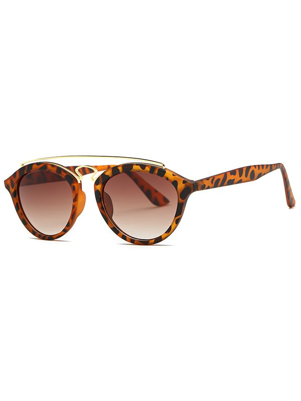 Crossbar Leopard Pattern Sunglasses