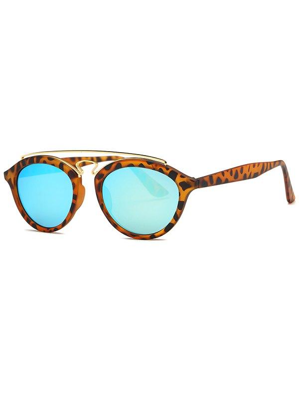 Crossbar Leopard Pattern Mirrored Trendsetter Sunglasses