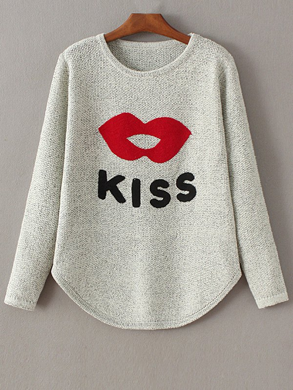 Lips and Letter Jacquard Sweater
