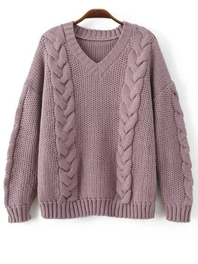 V Neck Braid Knit Pullover Sweater