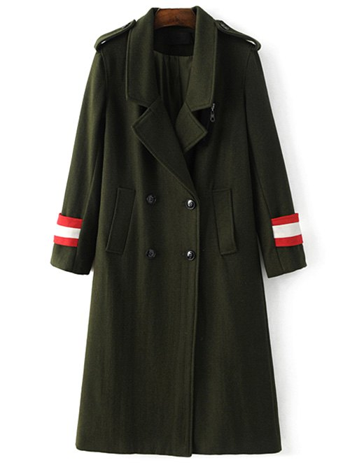 Lapel Double-Breasted Wool Blend Coat