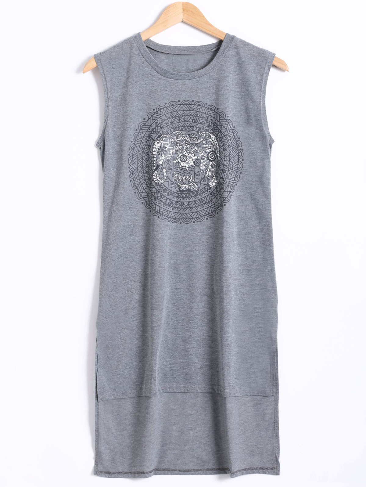 Sleeveless High Low Hem Elephant Print Dress