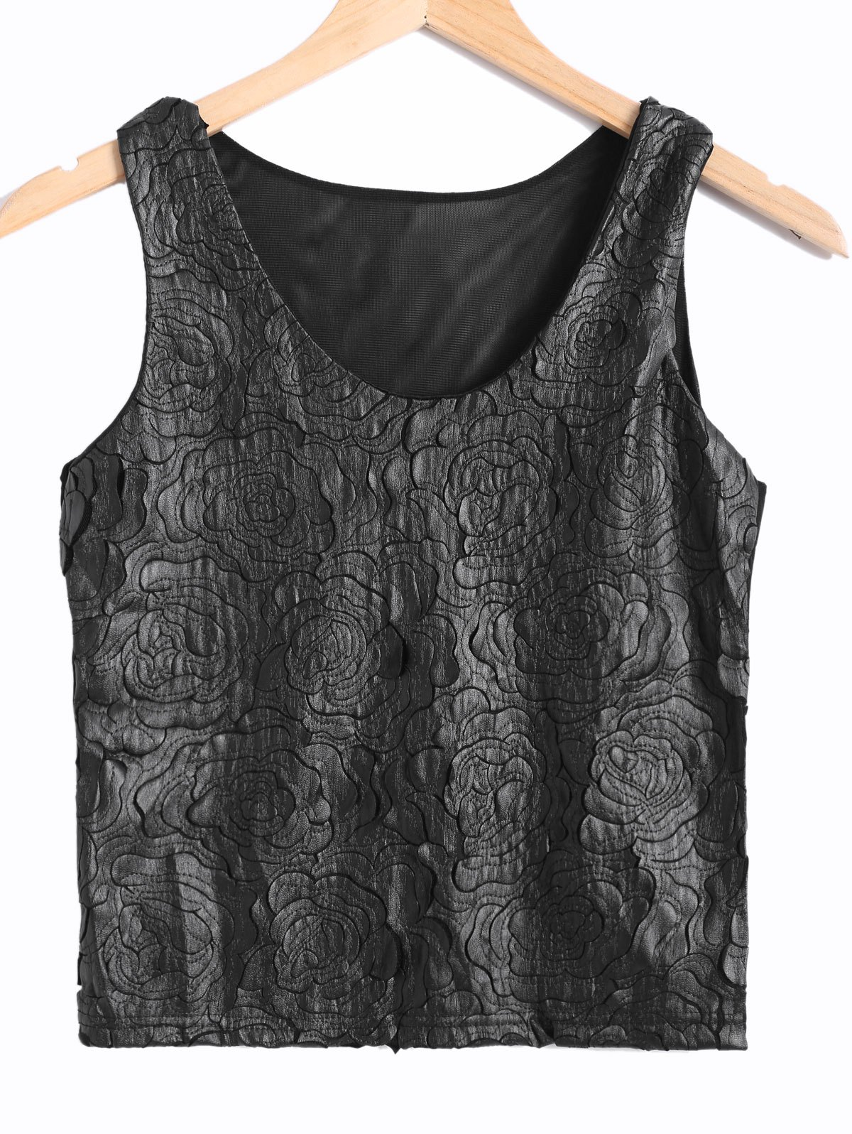 See-Through Rose Pattern Faux Leather Spliced Tank Top