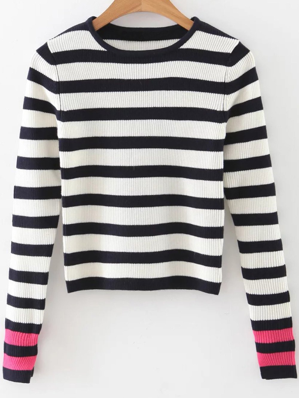 Round Neck Long Sleeve Striped Tricolor Sweater