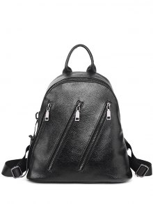 Metal Zippers Textured Leather Backpack