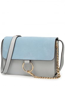 Magnetic Closure Chain Metal Ring Shoulder Bag - Light Blue