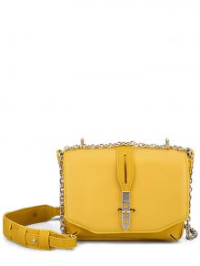 Hollow Out Stars Chain Crossbody Bag - Yellow