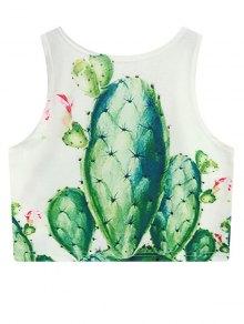 Cactus Print Crop Top - White