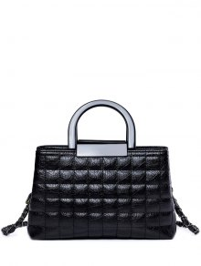 Plaid Pattern Chain PU Leather Tote Bag - Black