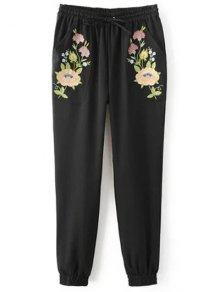 Buy Embroidered Jogging Pants - BLACK S