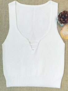 Sleeveless V Neck Sweater - White