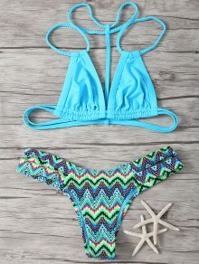 Spaghetti Straps Patcwork Geometric Print Bikini Set - Blue M