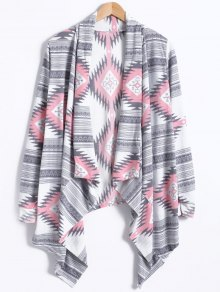Geometric Pattern Long Sleeve Cashmere Cardigan - Light Gray L