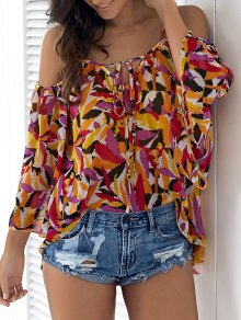Cold Shoulder Flowy Chiffon Top