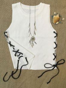 Side Lace-Up Knit Tank Top