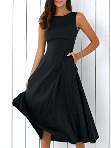 Sleeveless Round Neck Loose Fitting Midi Dress - Black