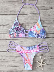 Halter Strappy Cute Print Double Side Bikini Set - Purple S