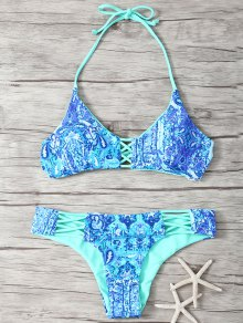 Halter Double Side Strappy Printed Bikini Set - Blue M