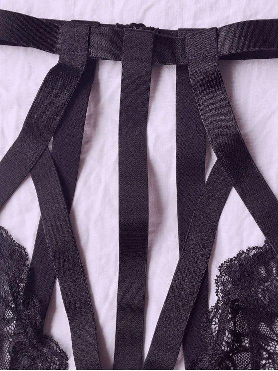 Lace High Neck Black Bra Set - BLACK 2XL Mobile