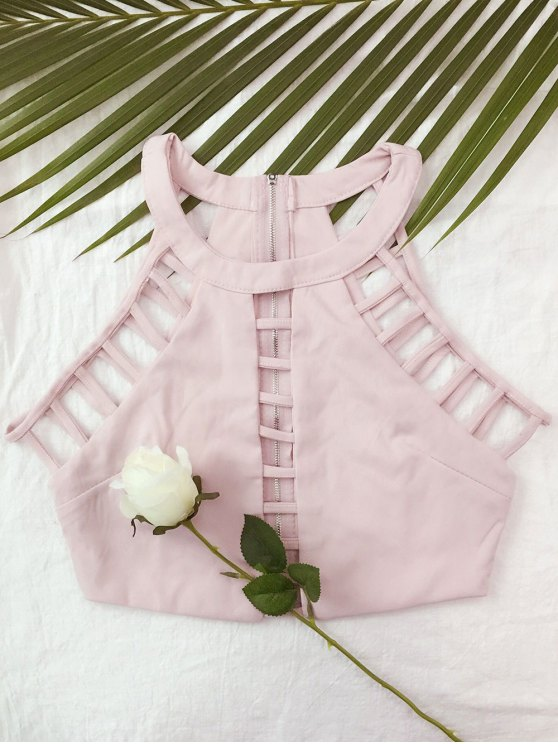 Ladder Cutout Crop Top - PINK M Mobile
