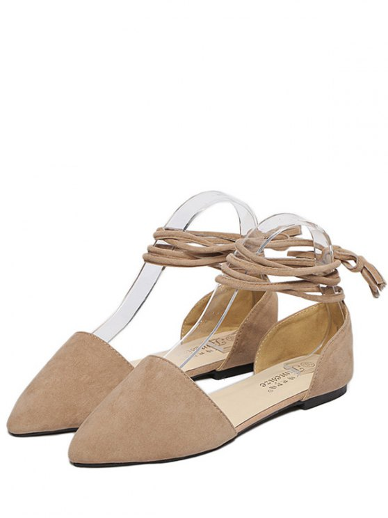Tie Up Pointed Toe Flock Flat Shoes - LIGHT KHAKI 38 Mobile