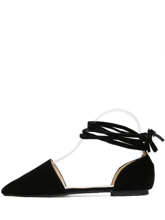 Tie Up Pointed Toe Flock Flat Shoes - BLACK 37 Mobile