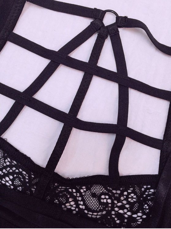 Black High Waisted Lace Bra Set - BLACK L Mobile