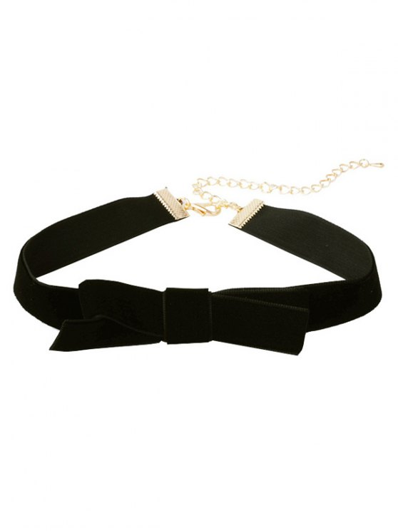 outfit Bowknot Cloth Choker Necklace - BLACK