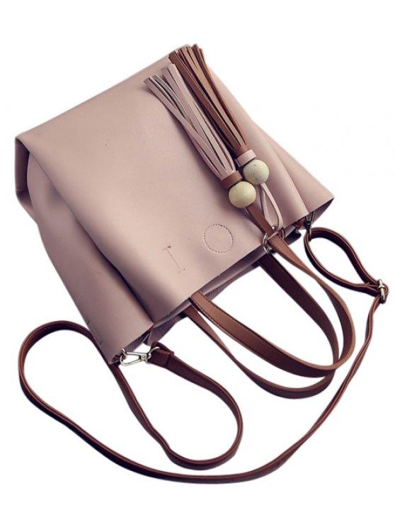 Metal Ring Colour Block Tassels Tote Bag - PINK  Mobile