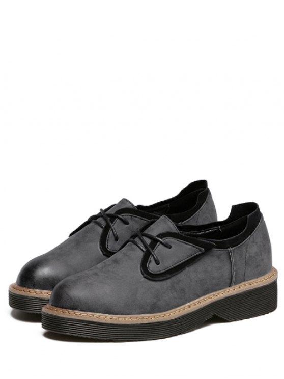 Round Toe Tie Up Splicing Platform Shoes - BLACK GREY 37 Mobile
