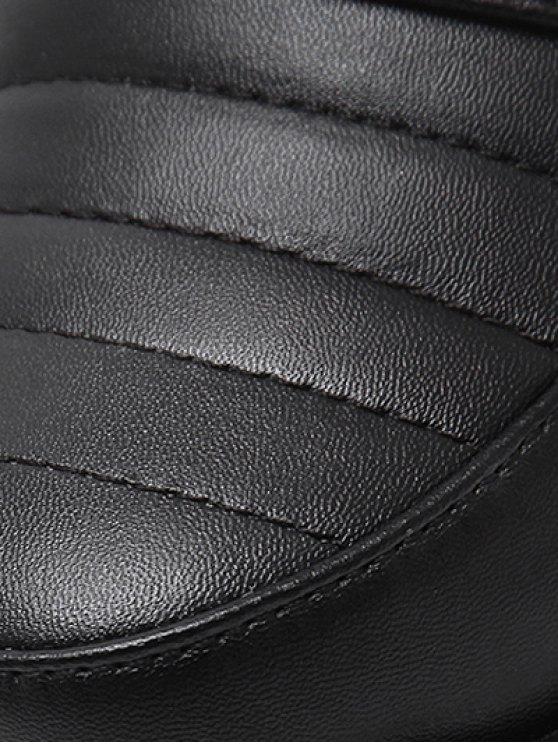 Zipper Chunky Heel Platform Pumps - BLACK 39 Mobile