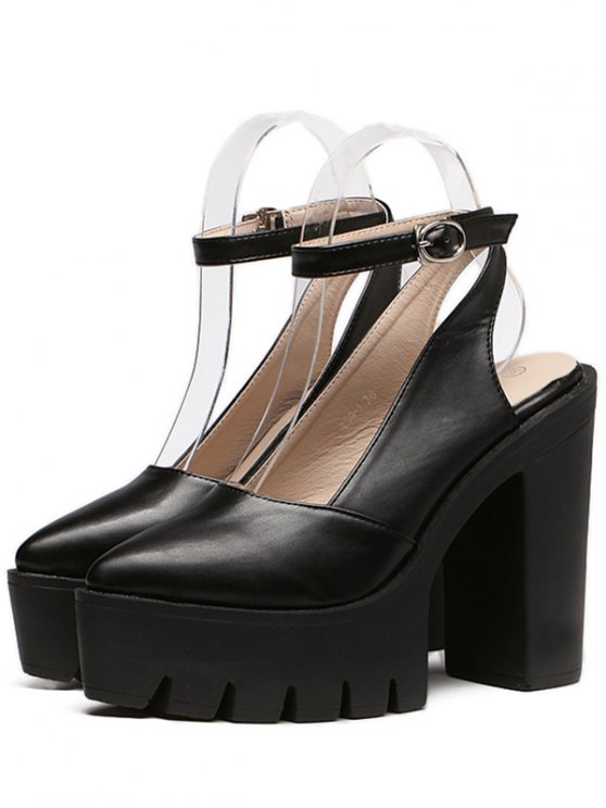 Chunky Heel Platform Ankle Strap Pumps - BLACK 38 Mobile