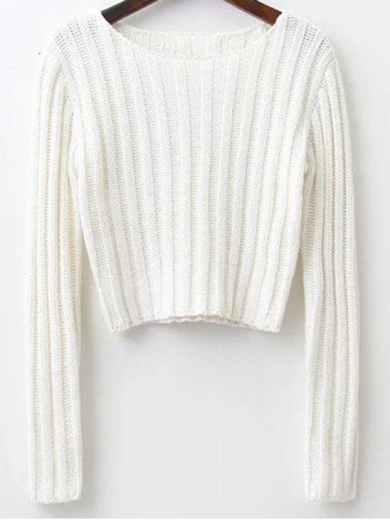 Ronda de manga larga cuello suéter recortada - Blanco S