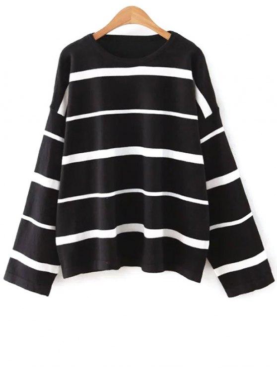 womens Striped Round Neck Knitwear - BLACK ONE SIZE