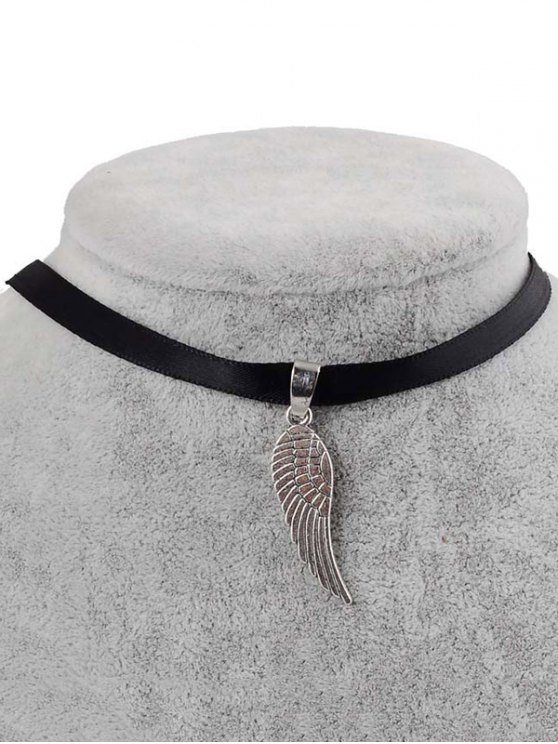 outfits Faux Leather Angel Wing Choker - BLACK